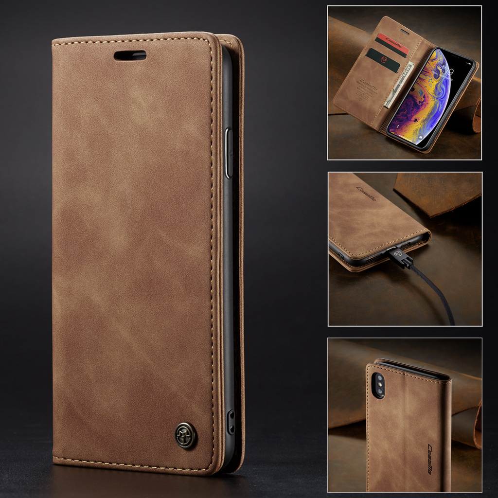 【Price Drop】iPhone Flip Magnetic Matte Leather Luxury Wallet Card Stand Phone Case