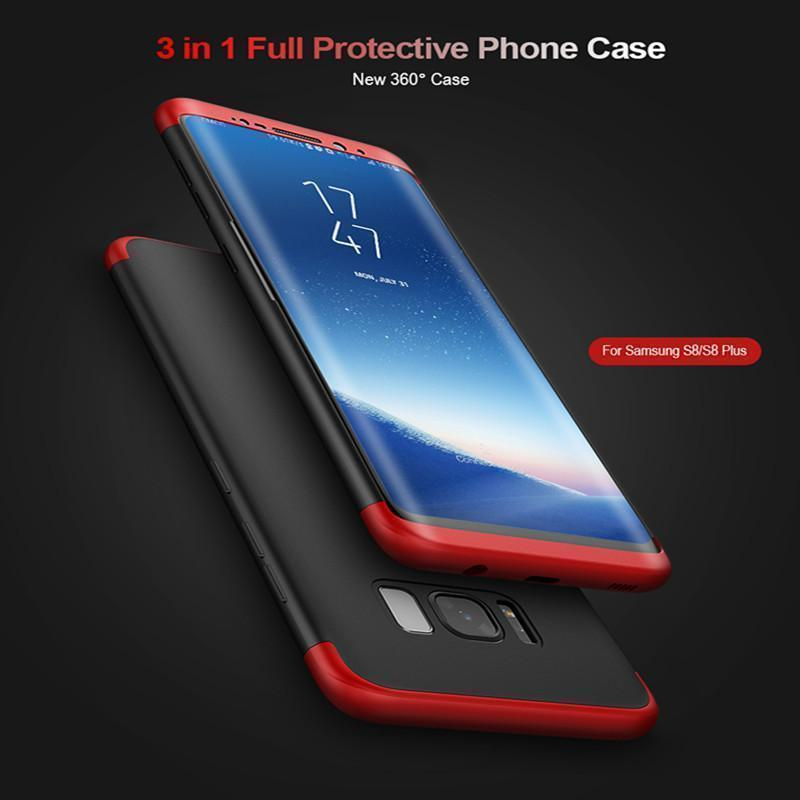 3 in 1 Double Dip 360°Full Cover Protection Hard PC Protective Case For Samsung S8/S8+