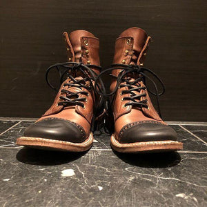 Vintage Genuine Leather Hand Stitching Martin Boots