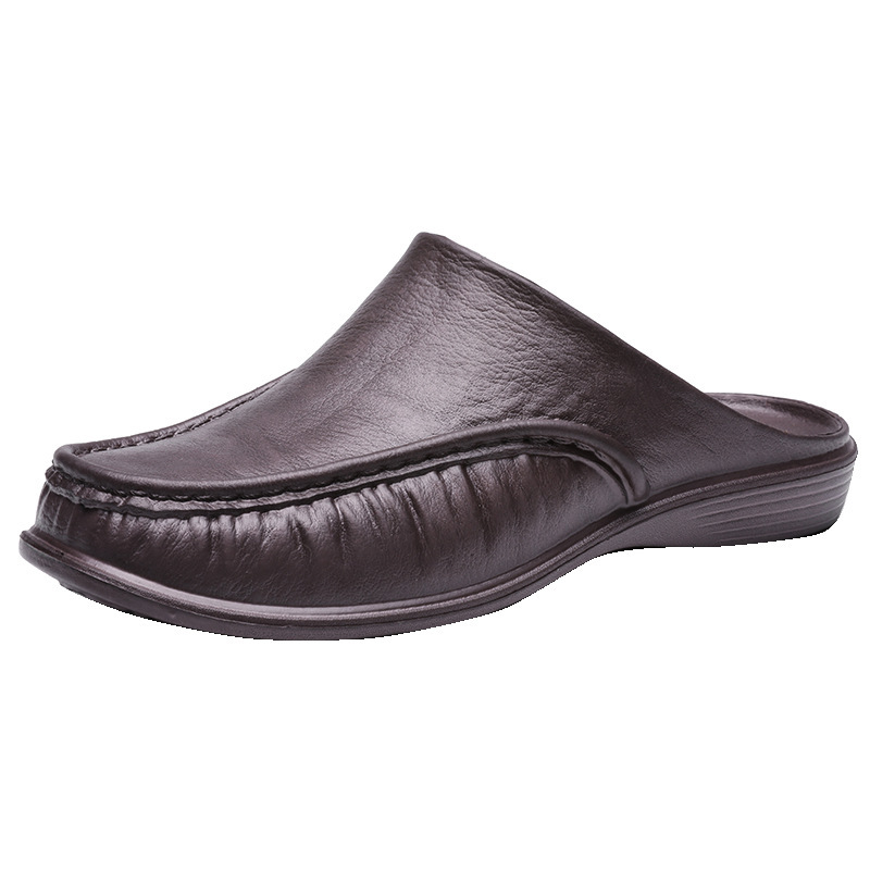Large Size Men Comfy Backless Slippers Casual Leather Sandals