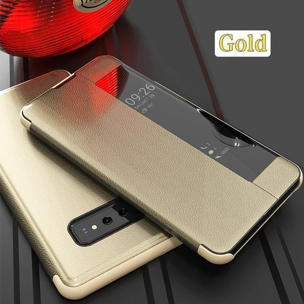 Luxury Vertical Smart Flip Phone Case Smart View Flip Leather Phone Case For Samsung Note 8 9 10 S8 S9Plus S10E