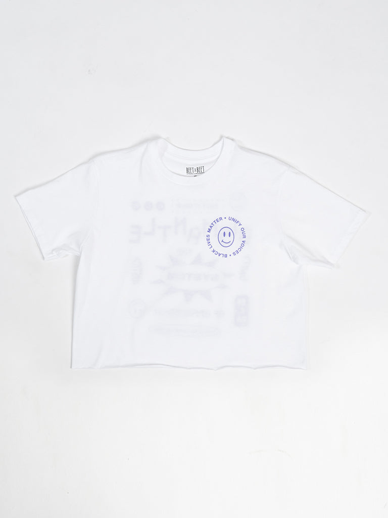 BLM Dismantle Crop Tee In White