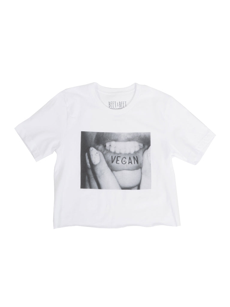 Read My Lips Crop Tee (White)