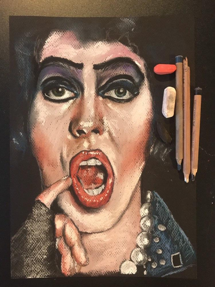 ROCKY HORROR SHOW - Frankenfurter, Original Pastel Artwork., Horror, Chantal Handley, Halloween - ChantalLauraHandley