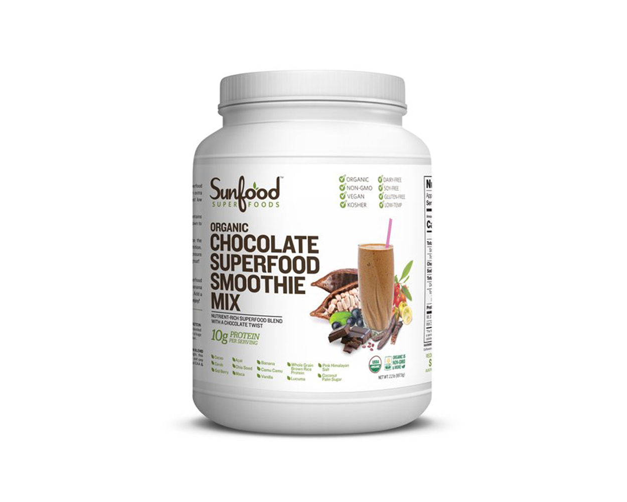 Chocolate Superfood Smoothie Mix, 2.2lb Tub, Organic