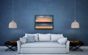 "Sunrises create the most amazing views don't they? Here I have tried to recreate a beautiful view showing clouds at the horizon being turned into pink cotton balls with flashes of sunlight radiating out above the clouds. Sheer bliss as you walk along the beach with the waves licking your toes.  This is oil on canvas and is 22""x28"" surrounded by a black floating frame."