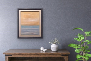 It's a hot day and the shimmering golden sky welcomes you to take a dip into the refreshing blue water. A peaceful image that will fit in virtually any décor regardless of wall colour.