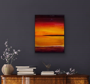 Looking for a little colour to brighten up your room? This is the perfect piece for you. I start with a wood panel and cover it with Venetian Plaster for texture and then paint on top of that with these beautiful colours that remind me of those really spectacular sunsets that you see now and then.