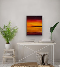 Load image into Gallery viewer, Looking for a little colour to brighten up your room? This is the perfect piece for you. I start with a wood panel and cover it with Venetian Plaster for texture and then paint on top of that with these beautiful colours that remind me of those really spectacular sunsets that you see now and then.