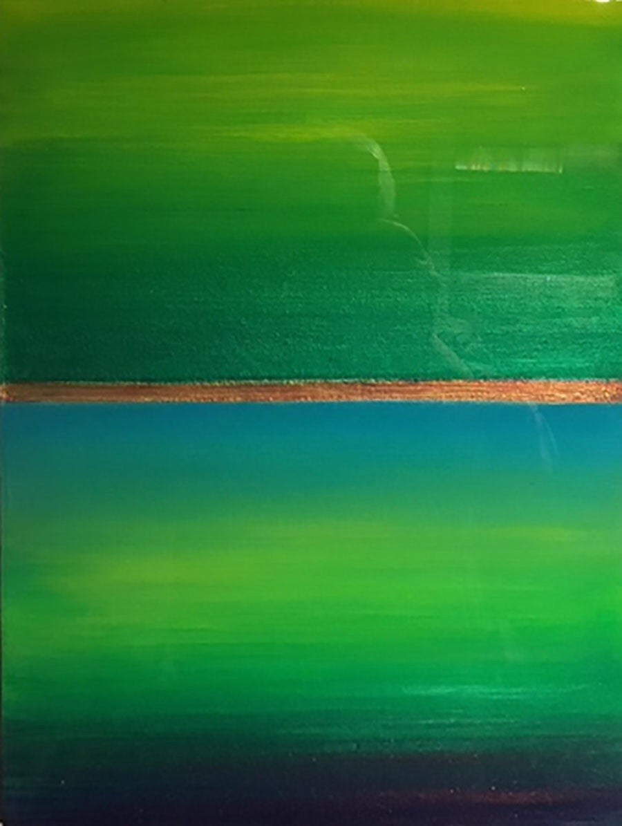 Want a cheerful painting that reminds you of Spring all the time? This colourfield painting is just for you! Beautiful shades of green surrounding blue water and a golden sunrise. Finished with shiny resin to make the colours pop, this will look great on dark or light coloured walls.  This is 12