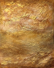 Load image into Gallery viewer, From my Topography Series. I just love how the metallic gold paint creates so much drama. Looking down on a golden field from above. Totally abstract yet inspired from a totally real image. This is one of my personal favourites and looks beautiful in any room and on any colour wall.