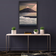 Load image into Gallery viewer, Mt Fuji is one of the most beautiful mountains (volcanos) in the world and rightly so. It is breathtaking. This painting is based on a photo taken by a friend standing atop a promontory high above the clouds as Fuji makes its appearance in the morning with the sun coming in from the right. Ironically Fuji is only visible about 90 days per year so this was great timing. The snow capped peak and the sunlight are rendered in high quality metallic oils so that the colours change depending on where you stand to