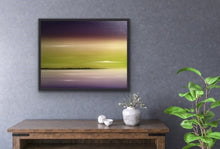 "Load image into Gallery viewer, Lavender and lime are complementary colours that are not used together very often but I love the harmony they create together. So I wanted to create a surreal seascape using those colours. Well a viewer of this work said it looked exactly like a sky she has seen many times up at her cottage. So this shows that real and surreal are truly closely related! This is a 22""x30"" oil on canvas complete with a black floating frame looks great in any room that has a bit of green in it or through the windows."