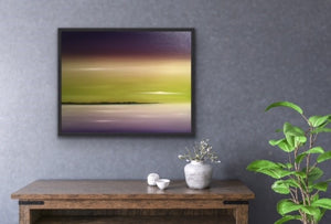 "Lavender and lime are complementary colours that are not used together very often but I love the harmony they create together. So I wanted to create a surreal seascape using those colours. Well a viewer of this work said it looked exactly like a sky she has seen many times up at her cottage. So this shows that real and surreal are truly closely related! This is a 22""x30"" oil on canvas complete with a black floating frame looks great in any room that has a bit of green in it or through the windows."