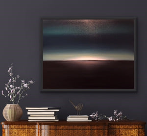 We often see sunsets depicted in paintings. I wanted to paint what we don't often get the chance to see...a moon set. Here we see a dramatic image  using closely related colours. Very dark teal and black with  a middle layer of moon light breaking over the horizon in a mysterious fashion. Let your imagination roam.