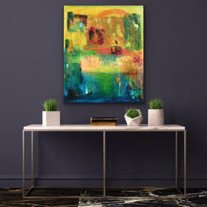 "I very often like to take on the challenge of trying to depict time in an otherwise static image. Here I have imagined a very abstract view of the sun setting from noon to dusk. It makes for a highly kinetic painting that will fill your room with lots of colour.  This is 30""x36"" acrylic on canvas with a shinny resin finish so the colours really ""pop"". Framed with a black floating frame to highlight the image."