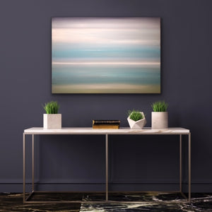 "his peaceful and tranquil  colour field painting is sold but available for commission. See the How to Commission a Painting tab.   30""x40"" Oil on Canvas with black floating frame."
