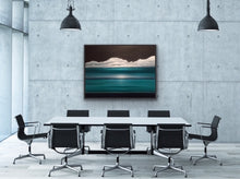"Load image into Gallery viewer, I love to play with multiple horizons. Here there are three for you to consider and, depending on which one you focus on, the painting changes with your viewpoint. A truly interactive piece of art that will be a great conversation piece. Additionally you can enjoy the surrealistic and atmospheric rendition of the water, sky and clouds while feeling the Caribbean breeze wafting over you.  This work is a substantial 36""x48"" oil on canvas with a black floating frame.  Great over a large couch or on a blank wal"