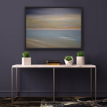 "Load image into Gallery viewer, If you are looking for a soft, paste-like work of art, this is the one for you. A peaceful rendition of one of those beautiful golden sunrises you so enjoy when you take your morning walks on the beach. The golden colour is created using high end metallic gold oils so it has a shimmering quality that makes it special.  A good size 30""x40"" oil on canvas accented with a black floating frame."