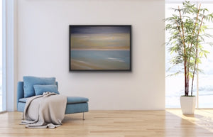 "If you are looking for a soft, paste-like work of art, this is the one for you. A peaceful rendition of one of those beautiful golden sunrises you so enjoy when you take your morning walks on the beach. The golden colour is created using high end metallic gold oils so it has a shimmering quality that makes it special.  A good size 30""x40"" oil on canvas accented with a black floating frame."