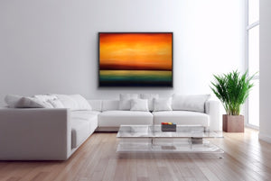 "How did our prehistoric ancestors see their world? For them the horizon was their TV set. The colours of the sky and water were constantly changing and they knew not why. I try to evoke how they felt while looking at these spectacles. Minimalist, atmospheric, ethereal and surrealistic.  Although this colourful 36""48"" oil on canvas is sold, the image is available for commissioning."