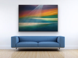 The majesty of Lake Huron is captured here is a commission I did for a couple who lives on the shore of Huron. They tell me that the lake quite often replicates my painting. Reality imitating art for sure. This image provides multiple horizon lines to keep the viewer engaged so the painting is always fresh.