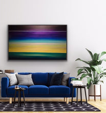 Load image into Gallery viewer, Two paintings in one. Dawn at the bottom horizon line and dusk at the upper horizon line. Showing two time periods in one static image is a challenge but it makes it a real talking piece. This beauty was done as a commission for a client who lives high above Lake Ontario and who wanted a large work to mimic their view through their window.