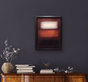 This colourfield painting was inspired by one of my favourite artists, Mark Rothko. The harmony of the colours and how they hover in space create a meditative image that is enhanced by the shinny resin finish.  This lovely smallish piece is oil on canvas and framed in a black floating frame that captures the floating shapes.