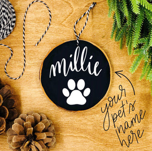 Personalized Dog Paw - Custom Wood Slice Ornament