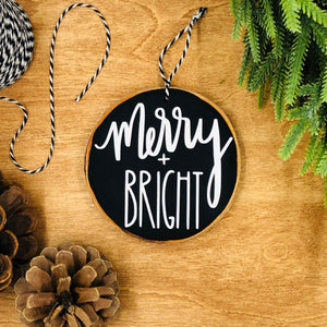 'Merry & Bright' - Wood Slice Ornament
