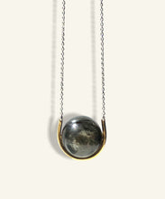 Load image into Gallery viewer, Golden Eye Sphere in Gold Cradle with Silver Chain