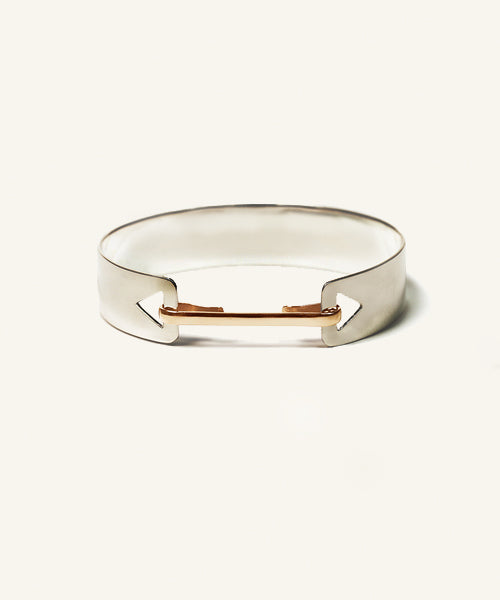 Silver Arrow Bangle with Gold Clip
