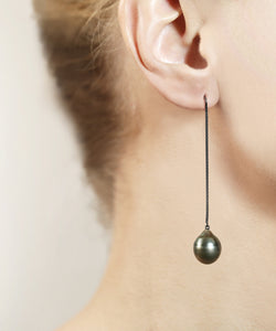 Teardrop Black Tahitian Pearl Earrings