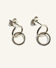 Load image into Gallery viewer, Mini Silver Double Hoop Earrings