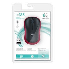 Logitech M185 Wireless Mouse Black/red