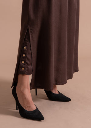 Textured Button Trousers Bark