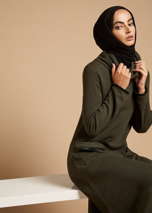 Roll Neck Abaya Green Aab