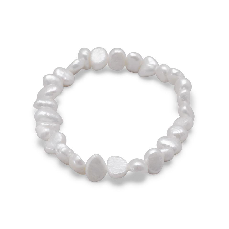 White Cultured Freshwater Pearl Stretch Bracelet