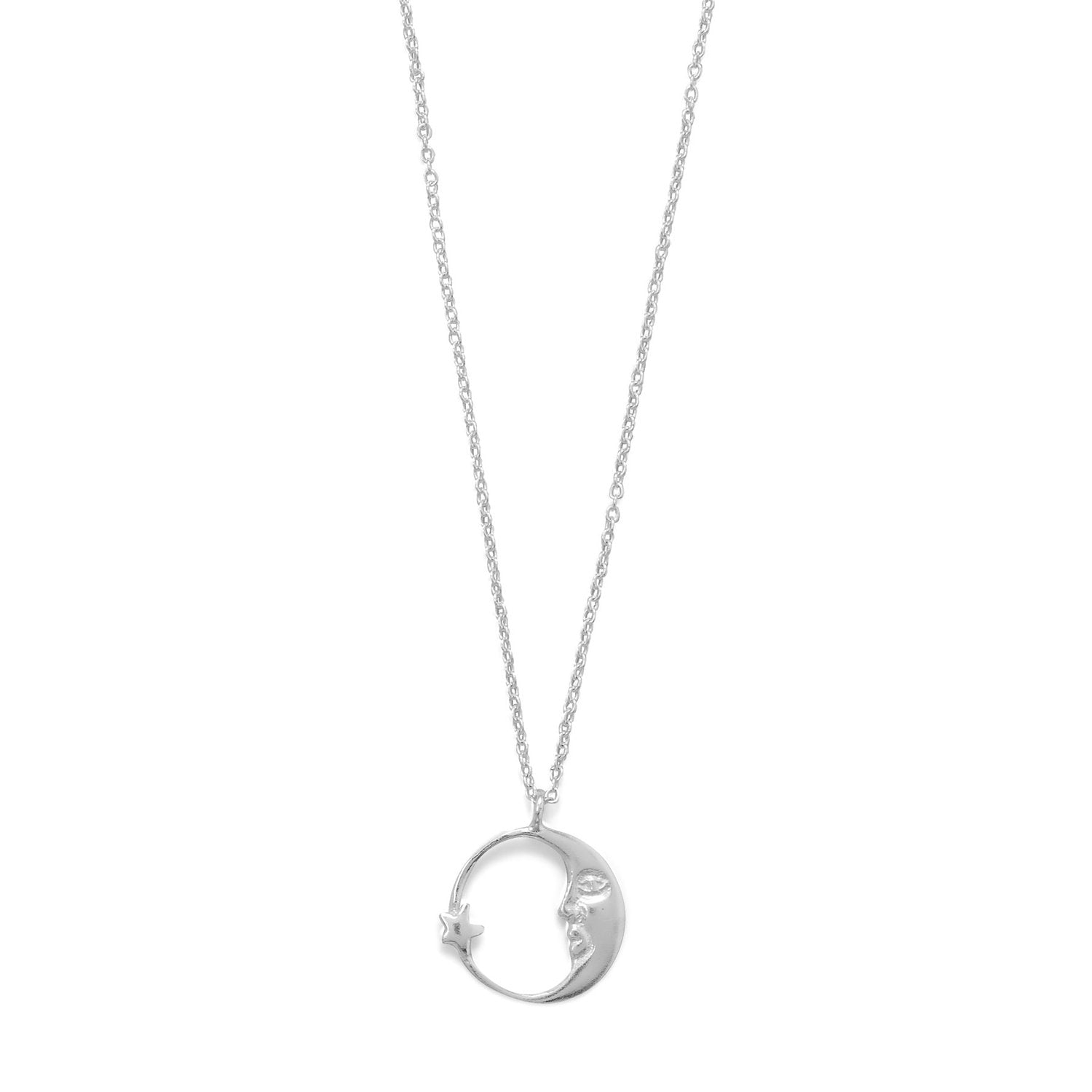 "16.5"" Crescent Moon with Star Necklace"