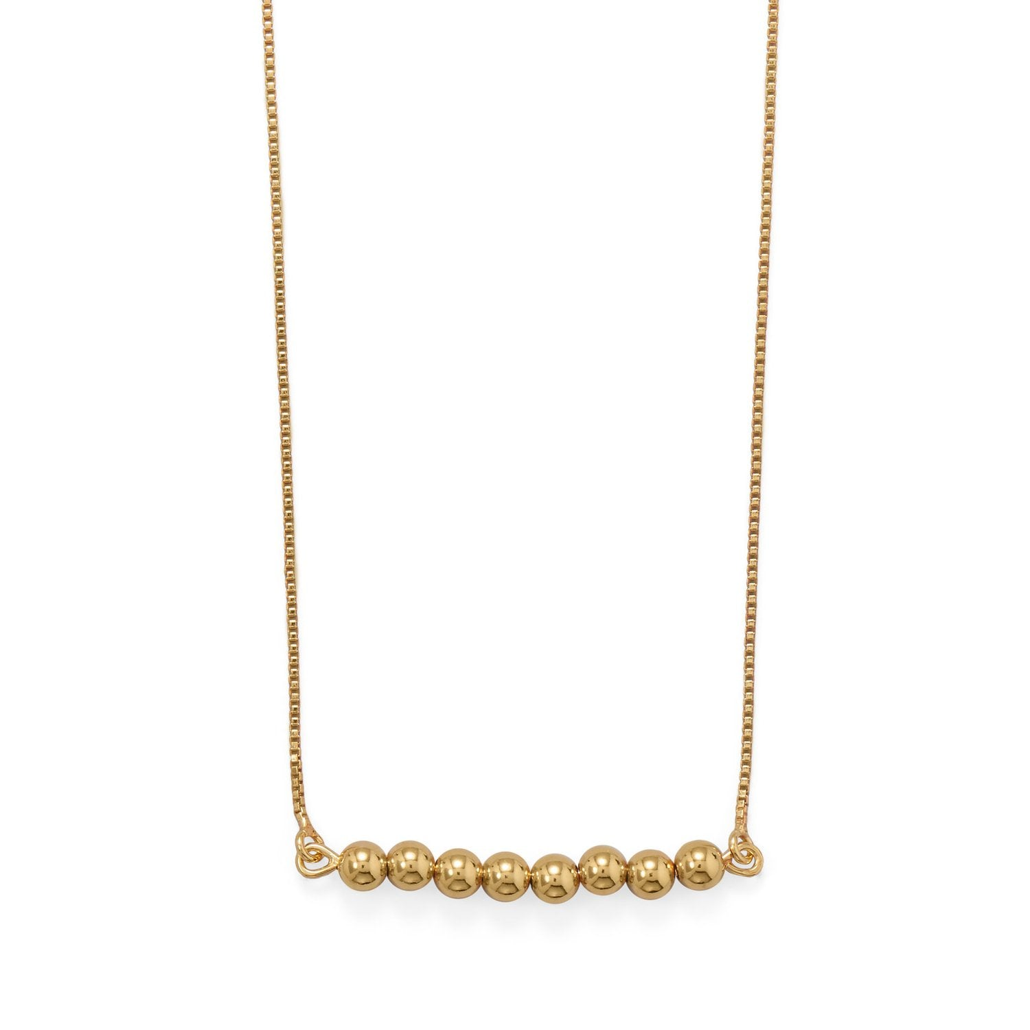 "16""+2"" 14 Karat Gold Plated Beaded Bar Necklace"