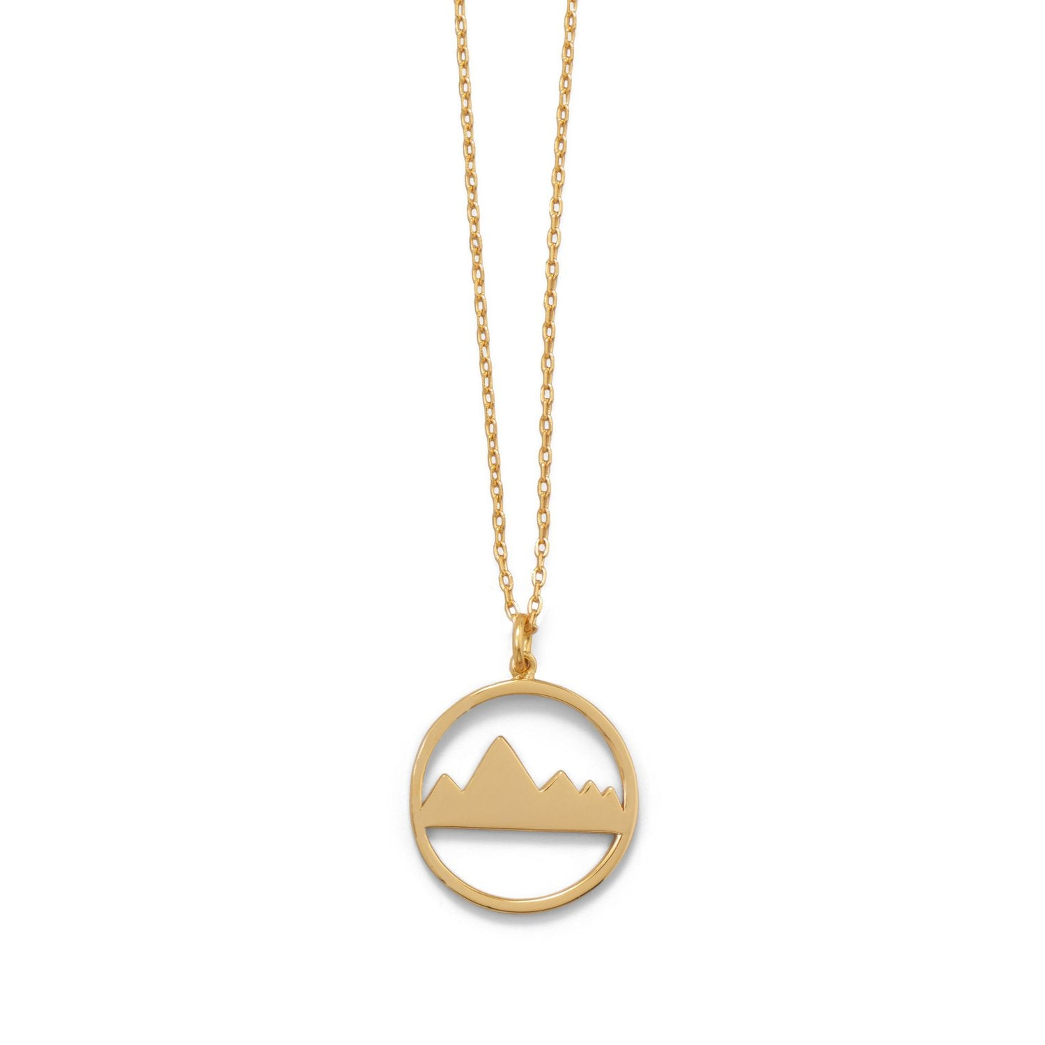 "Peak of Fashion! 16"" + 2"" Gold Plated Mountain Range Necklace"