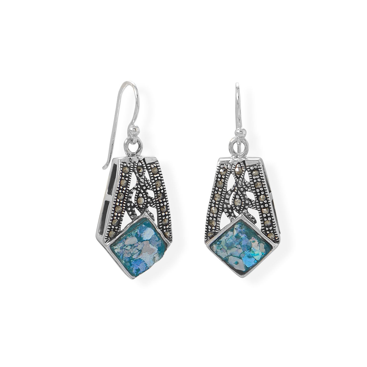 Oxidized Marcasite and Roman Glass Earrings