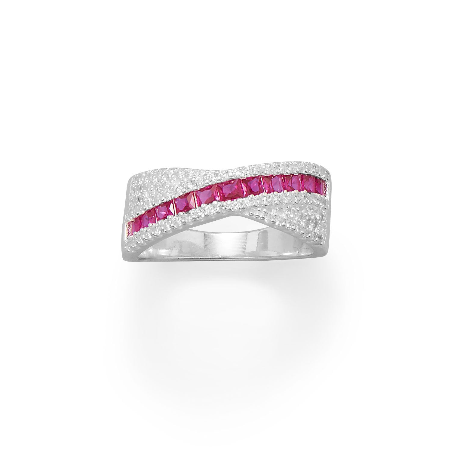 Red CZ Overlapping Ring