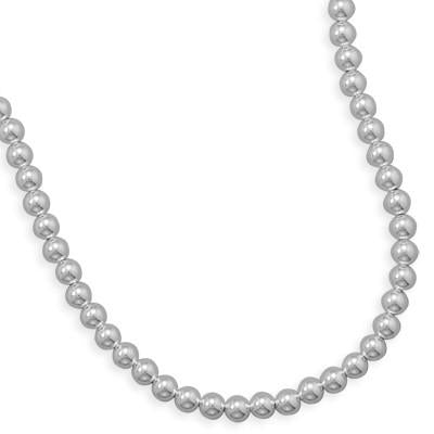 8mm Sterling Silver Bead Strand