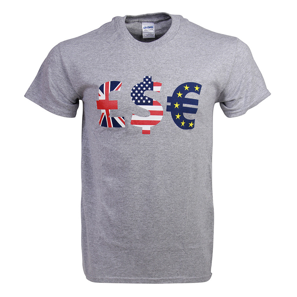 LSE international currency t-shirt in grey: £$€
