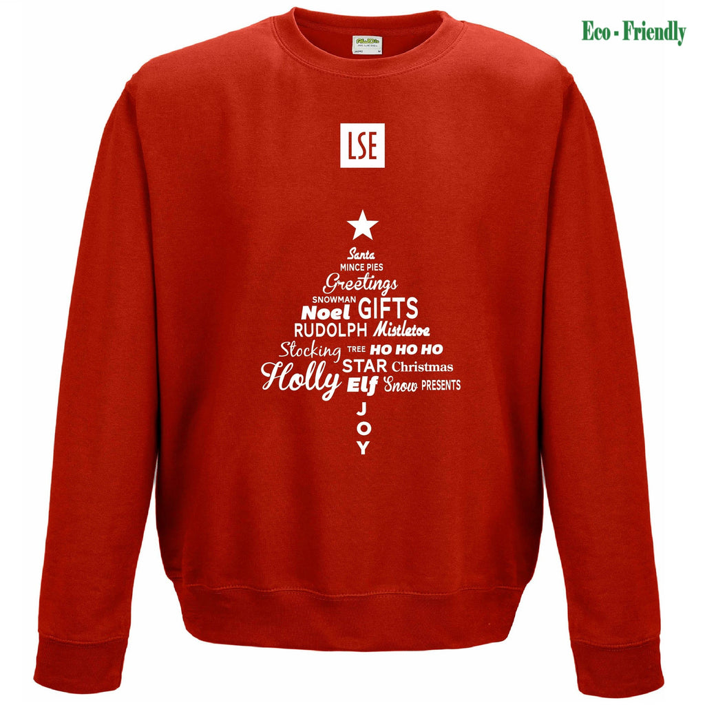 Text Christmas Tree Organic Sweatshirt Red