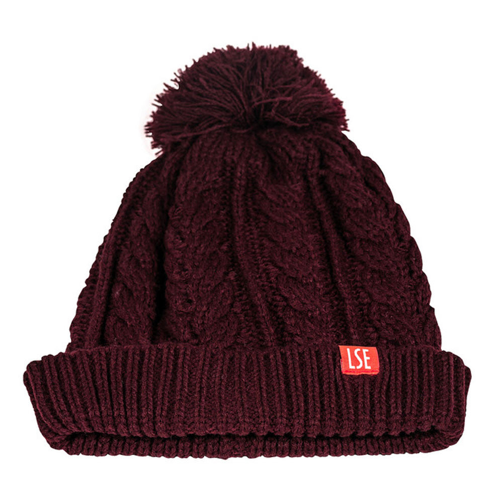 Beanie Cable Knit - Burgundy
