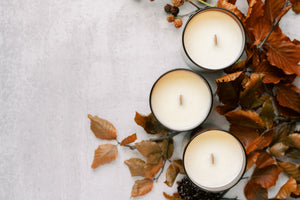 Fall candle collection soy wax wooden wick