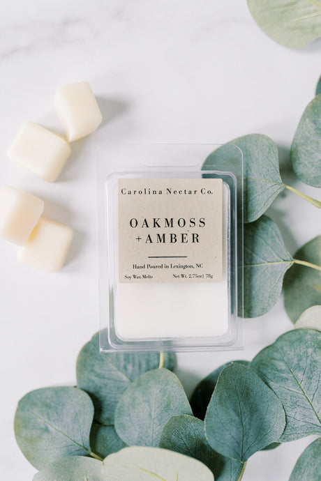 Oakmoss and amber soy wax melts from nc candle company
