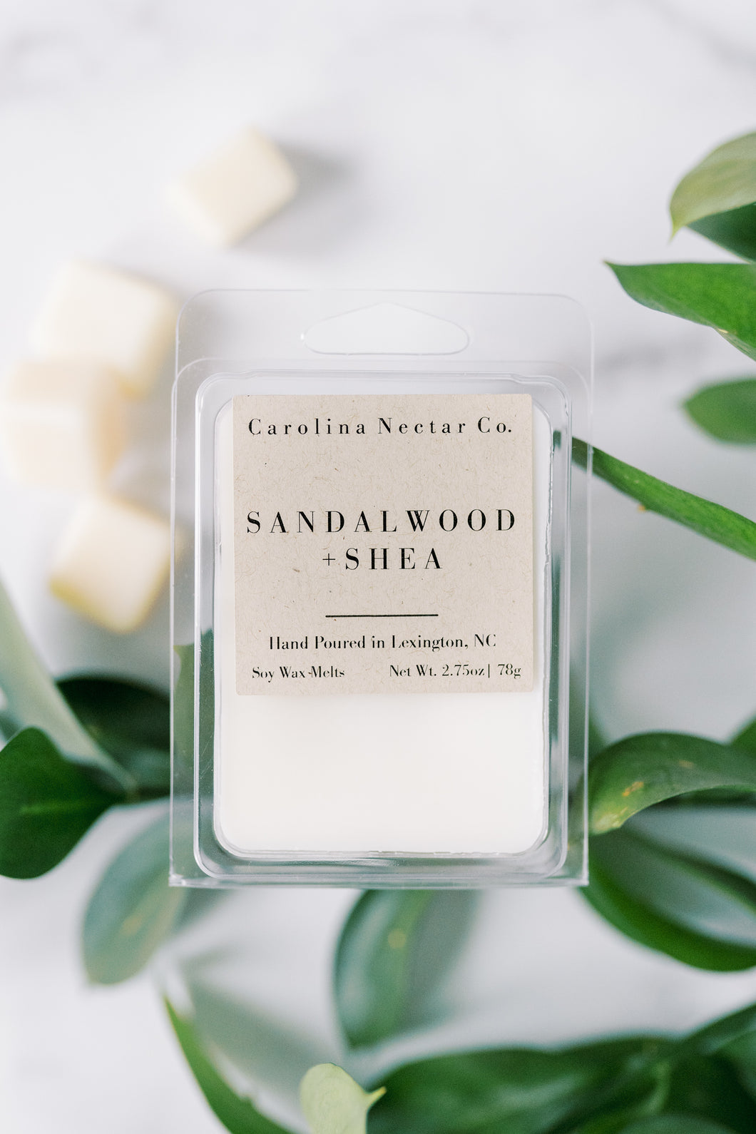 Sandalwood and Shea soy wax melts made by NC candle company